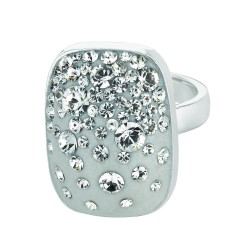 Silver With Rhodium Finish Shiny Square Top Size 7 Ring With Light Grey Crystal