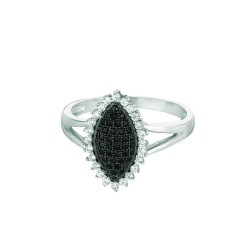 Silver Rhodium Finish Shiny Fancy Marquise Shape Top Size 6 Ring With Blackwhit E Cubic Zirconia