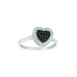 Silver Rhodium Finish Shiny Heart Shape Top Size 6 Ring With Blackwhite Cubic Z Irconia