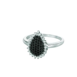 Silver Rhodium Finish Shiny Teardrop Shape Top Size 6 Ring With Blackwhite Cubi C Zirconia