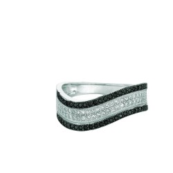 Silver Rhodium Finish Shiny Graduated Twisted Band Type Size 7 Ring With Blackw Hite Cubic Zirconia