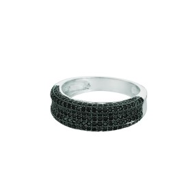 Silver Rhodium Finish Shiny Fancy Concave Band Type Size 6 Ring With Black Cubic Zirconia