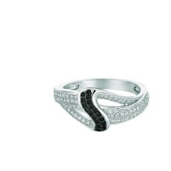 Silver Rhodium Finish Shiny Fancy Loop Top Size 6 Ring With Blackwhite Cubic Zi Rconia