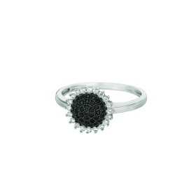 Silver Rhodium Finish Shiny Sun Flower Top Size 6 Ring With Blackwhite Cubic Zi Rconia