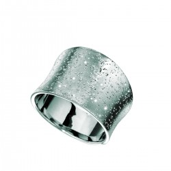 Silver With Rhodium Finish Shiny Textured Graduated Slightly Concave Size 7 Ring Stardust Collection