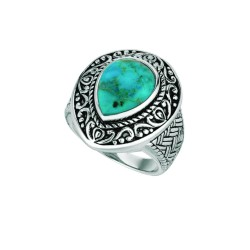 Silver Oxidized Tear Drop Shape Reconstituted Turquoise Size 7 Ring