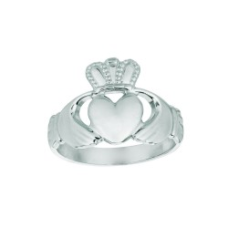 Silver With Rhodium Finish Shiny Claddagh Top Size 6 Ring
