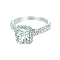 Silver Rhodium Finish Shiny Square Top Size 6 Ring With White Cubic Zirconia