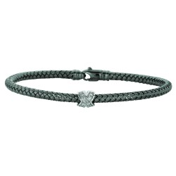 Silver Rhodium Finish 3.65Mm Shiny Basketweave 0.01Ct White Diamond Fancy Bangle With Lobster Clasp