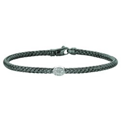 Silver Rhodiumruthenium Finish 3.6Mm Shiny Basketweave 0.01Ct White Diamo Nd Fancy Bangle With Lobster Clasp