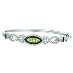 Silver With Rhodium Finish 3.5Mm Shiny Graduated Fancy Oval Top Bangleclas P With Blackwhitelime Cubic Zirconia