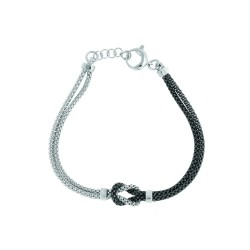 Silver Rhodiumruthenium Finish 4.1Mm Shiny Half Whitehalf Black Double Strand Round Box Type Chain Bracelet With Centered Loop2 Station Barre