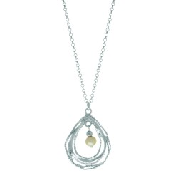 Silver With Rhodium Finish 22X30Mm Open Shiny Textured Concentric Tear Drop Pendant With Fresh Water White Pearl On Round Rolo Chain-Lobster