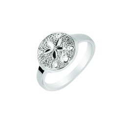 Silver With Rhodium Finish 2.5Mm Shiny Textured Sand Dollar Top Size 7 Sea Life Ring