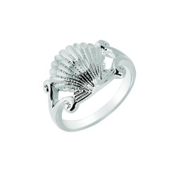 Silver With Rhodium Finish 2.7Mm Shiny Textured Sea Shell Top Size 6 Sea Life Ring