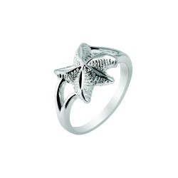 Silver With Rhodium Finish 2.1Mm Shiny Textured Starfish Top Size 6 Sea Life Rin G