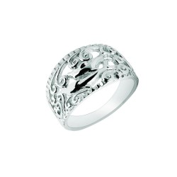 Silver With Rhodium Finish 3.2-8.5Mm Shiny Textured Graduated 2 Dolphin Top Size 6 Sea Life Ring