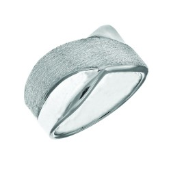 Silver With Rhodium Finish 5.5-10.4Mm Graduated Sa Tin Finish & Shiny X Flat Top Type Ring Size-6