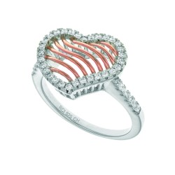 Silver With Roserhodium Finish 1.67Mm Size 07 Rin G With 12.3X15.2Mm Rose Mesh Type Heart Top Studde Ded With Micropave White Cubic Zirconia