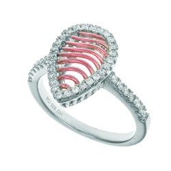 Silver With Roserhodium Finish 2.1Mm Size 07 Ring With 10.7X14.5Mm Rose Mesh Type Teardrop Top Trim Med With Micropave White Cubic Zirconia