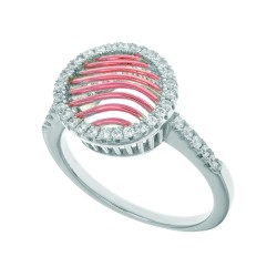 Silver With Roserhodium Finish 1.62Mm Size 07 Rin G With 12X13.1Mm Rose Mesh Type Round Top Trimmed With Micropave White Cubic Zirconia