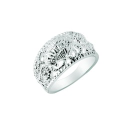 Silver With Rhodium Finish 3.4-8.4Mm Shiny Textured Graduated Sea Shell Top Size 6 Sea Life Ring