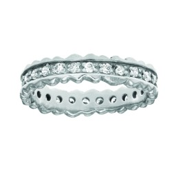 Silver With Non-Rhodium Finish Shiny 4.4Mm Ridged Edge Band Type Ring Studdeded With Single Row Whit E Cubic Zirconia