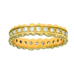 Silver With Yellow Finish Shiny 4.4Mm Ridged Edge Band Type Ring Studdeded With Single Row White Cub Ic Zirconia