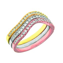 Silver With Rhodiumrosewhite Finish 2.0Mm Set Of 3 Individual Band Type Twisted Ring With White Cubic Zirconia