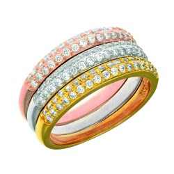 Silver With Rhodiumrosewhite Finish 2-3.06Mm Slightly Graduated 2-Row White Cubic Zirconia Set Of 3 Individual Ring