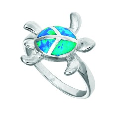 Silver With Rhodium Finish Fancy Turtle Top Opal Size 7 Ring