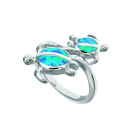 Silver With Rhodium Finish Fancy 2-Turtle Top Opal Size 7 Ring