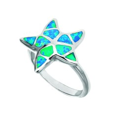 Silver With Rhodium Finish Fancy Starfish Top Opal Size 7 Ring