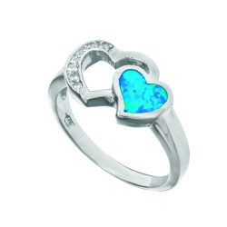 Silver With Rhodium Finish Fancy 2-Heart Top Opal Size 7 Ring