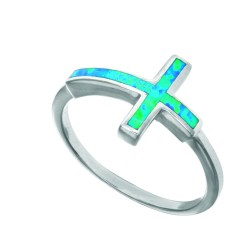 Silver With Rhodium Finish Fancy Cross Top Opal Size 7 Ring