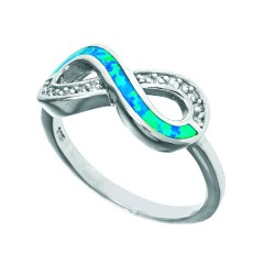 Silver With Rhodium Finish Fancy Infinity Opal Size 7 Ring