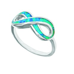 Silver With Rhodium Finish 1.8Mm Shiny 8.7-18.7Mm Infinity Top Opal Ring