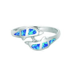 Silver With Rhodium Finish 2.4Mm Shiny Created Opal 2 Dolphin Top By Pass Size 6 Ring