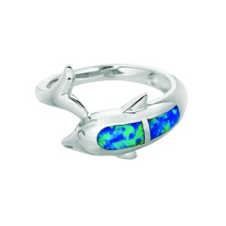 Silver With Rhodium Finish 2.9Mm Shiny Created Opal Dolphin Top Size 6 Ring