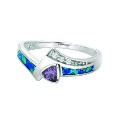 Silver With Rhodium Finish 2.7Mm Shiny Created Opal Fancy Size 6 Ring With Ameth Ystwhite Stone