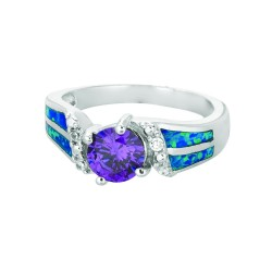 Silver With Rhodium Finish 2.7Mm Shiny Created Opal Fancy Round Top Size 6 Ring With Amethystwhite Stone