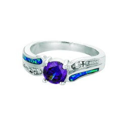 Silver With Rhodium Finish Graduated Shiny Created Opal Fancy Round Top Size 6 Ring With Amethystwhite Stone