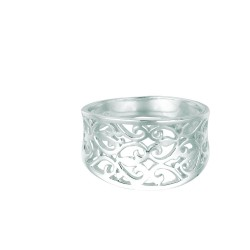 Silver With Rhodium Finish Shiny 3.75Mm Concave Mesh Type Size 6 Ring