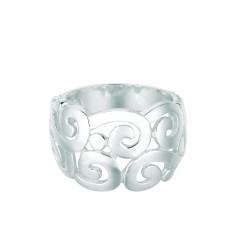 Silver With Rhodium Finish Shiny 5.20Mm Fancy Swirl Pattern Size 6 Ring