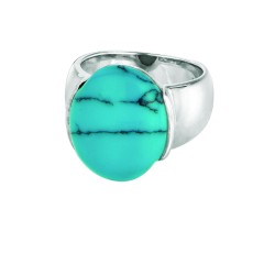 Silver Rhodium Finish 5.5-10.1Mm Shiny Graduated Oval Top Size 6 Ring With Created Turquoise