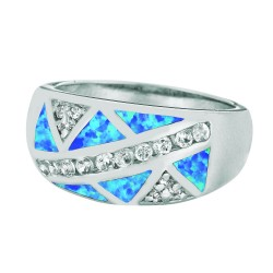 Silver With Rhodium Finish 3.5-10Mm Shiny Created Opal Graduated Size 6 Ring Wit H White Stone