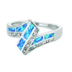 Silver With Rhodium Finish 2-4.5Mm Shiny Created Opal Graduated Z Top Size 6 Ring With White Stone