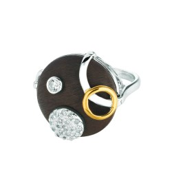 Silver Rhodiumyellow Finish Shiny 2Mm Brown Round Top Size 6 Ring With White Cubic Zirconia