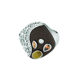 Silver Rhodiumyellow Finish Shiny Graduated Brown Square Top Size 6 Ring With Multi-Color Stones