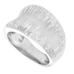 Silver Rhodium Finish 5-13Mm Shiny Diamond Cut Satin Graduated Concaved Fancy Ring